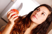 Young woman with a Apple — Stock Photo