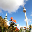 Marienkirche and TV Tower in Berlin - Stock Photo