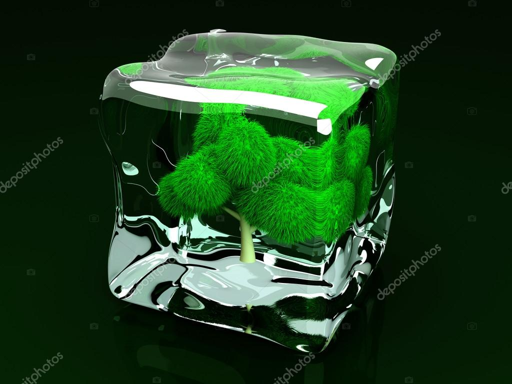 A frozen Tree in a Ice Cube. 3D rendered Illustration.  Stock Photo #13981137