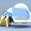 Secure Laptop cloud — Stock Photo