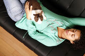 Brazilian girl with a Rabbit — Stock Photo