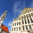 Townhall of Augsburg with St. Peter - Stock Photo