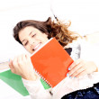 Reading a Book in Bed — Stock Photo