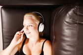 Blonde Girl with Headphones — Stock Photo
