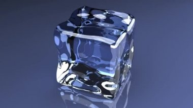 3D rendered animation. A turning Ice cube.