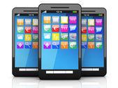 Three Smartphones — Stock Photo