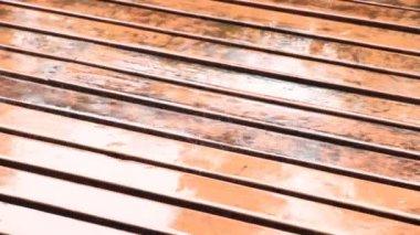Rain falling on Planks — Stock Video