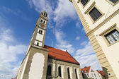 Old town center of Augsburg with St. Peter — Stock Photo