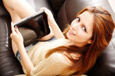 Girl with a Tablet PC — Stock Photo