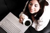 Caffè e portatile — Foto Stock
