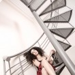Red wine on the stairs — Stock Photo