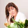 Woman with white wine — Stock Photo