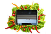 Vegetables and a Tablet PC — Stock Photo
