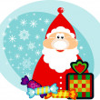 Funny cartoon SantClaus with holidays gifts. — Stock Photo #14090461