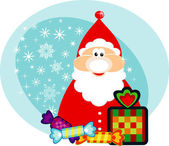 Funny cartoon Santa Claus with holidays gifts. — Stock Photo