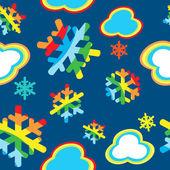 Un cielo de nieve patrón feliz navidad con arco iris. vector de color de copo de nieve. — Foto de Stock