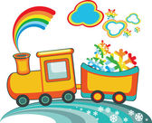 Cartoon Christmas train with rainbow snow,vector — Stock Photo