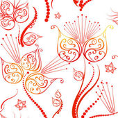 Holidays pattern with red flowers, vector. — Stock Photo