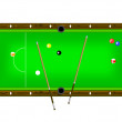 Vector Illustration of a pool table with cues and pool balls — Stockvectorbeeld