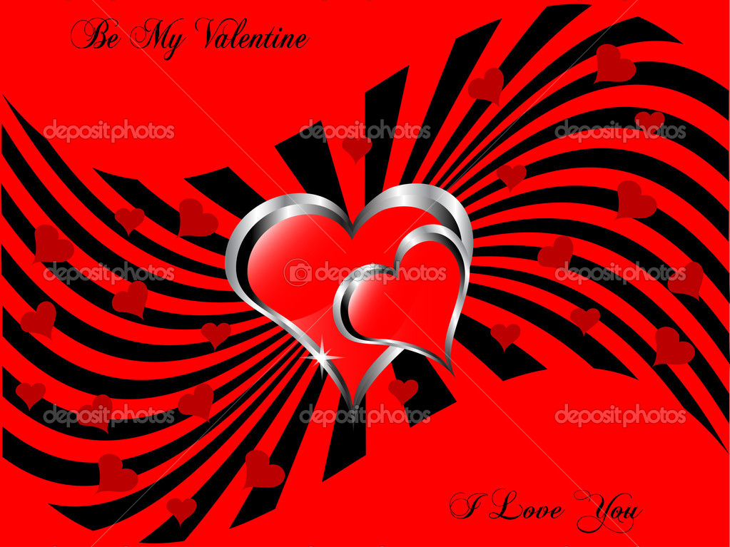 A vector valentines background with a large central hearts on a  red and black pattern — Stock Vector #17618385