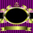 Gold floral frame on a classic purple striped background — Stock Vector #4354419