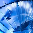 Futuristic glass spiral staircase - Stock Photo