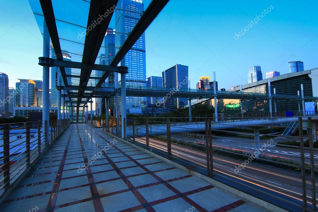 Urban footbridge across the street — Stock Photo #13315053