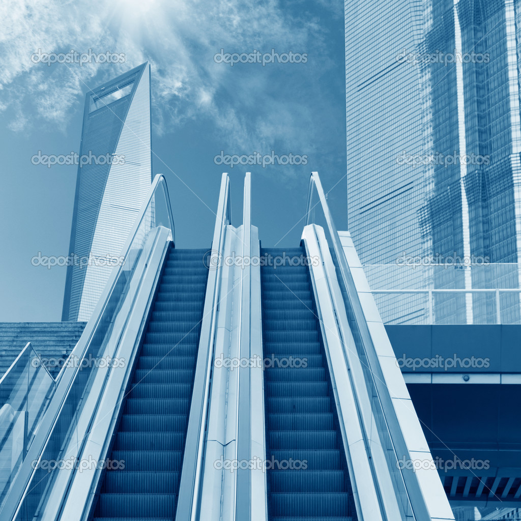 Escalator to the sky, urban fantasy landscape,abstract expression  Stock Photo #13621690