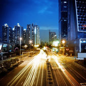 Light traces in the city — Stock Photo