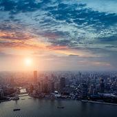 Shanghai pudong skyline at sunset — Stock Photo
