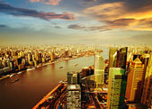 Shanghai pudong skyline at sunset — Stock Photo