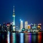 Shanghai skyline at night — Stock Photo