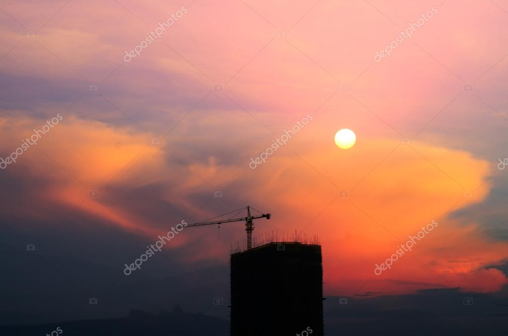 Cranes on a construction site in Shanghai — Stock Photo #18387615