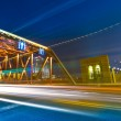 The light trails on the modern building — Stock Photo #18390767