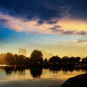 Solnedgång landscpae i yangshuo — Stockfoto