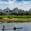 Bamboo raft at the Ulong river near Yangshuo — Stock Photo