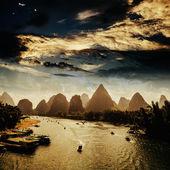 Sunset landscpae of yangshuo — Stock Photo