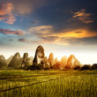 Stock Photo: Sunset in the countryside landscape
