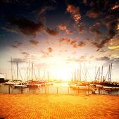 Yachts and marina — Stock Photo