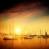 Yachts and marina — Stock Photo