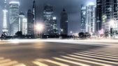 Trilhas leves em Xangai — Fotografia Stock