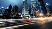 Light trails on shanghai — Stock Photo