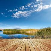 Pasarelas y lago — Foto de Stock