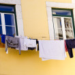Clothes Hanging on Line in Lisbon Portugal — Stock Photo