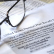 Stock Photo: Pension PlBenefit, selective focus on pension plan