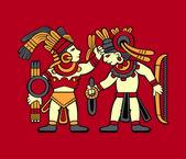 Guerreros aztecas — Vector de stock