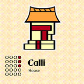 Aztec symbol Calli — Stock Vector