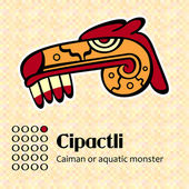 Aztec symbol Cipactli — Stock Vector