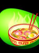 Asian noodle soup — Stock Vector
