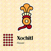 Aztec symbol Xochitl — Stock Vector